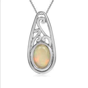 "Genuine Opal Victorian Filigree Necklace 18"""